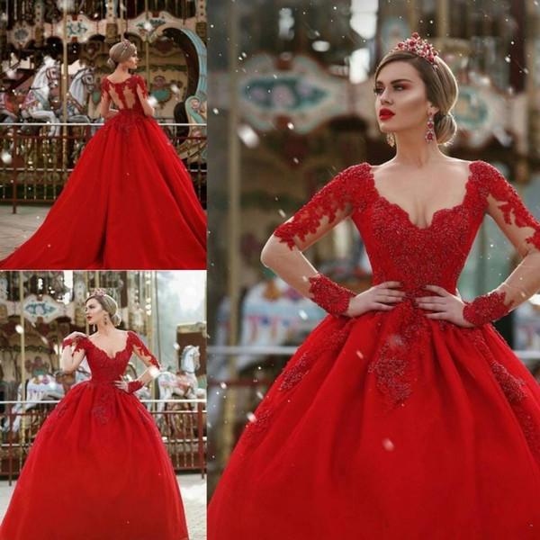 Vintage rote Ballkleid Quinceanera Kleider 2019 lange Ärmel großen Perlen V-Ausschnitt zurück Illusion Sweet 16 Kleid Maskerade Prom Party Kleider
