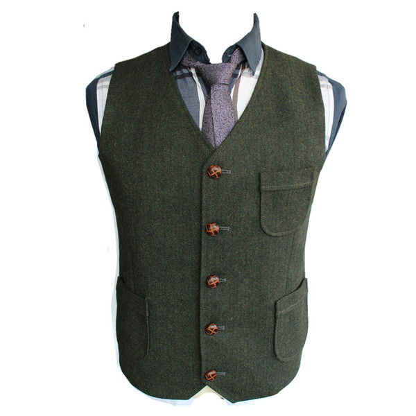 2019 New Dark Green Groom Vests Wedding Vests Wool Slim Fit Mens Vests Tailored Dress Coat Farm Country Plus Size