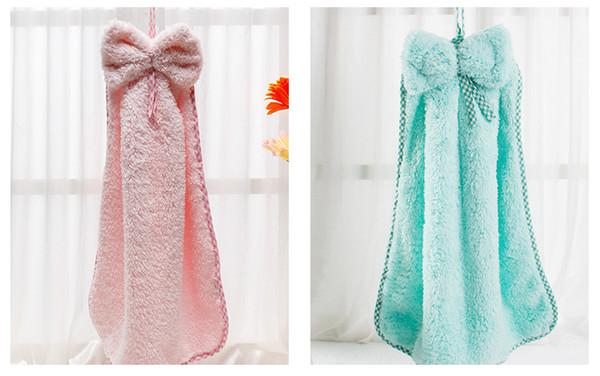 Linda forma de pajarita de microfibra niños niños de dibujos animados toalla absorbente de mano seca toalla encantadora para uso de baño de cocina