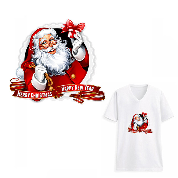 Santa Claus Ironing Transfers Patch Stickers Heat Press for Kids DIY Accessory Appliques Christmas Festival Patches Badges
