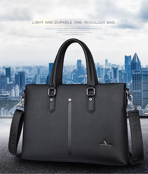 Durable Genuine Leather Shoulder Bag Gentleman Business Handbag Designer Cattle Hide Laptop Bags Kangaroo Design Free Shipping Wholesale