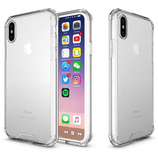 Shockproof Armor Clear Transparent Case For iPhone Xs Max XR Hard PC Cover TPU Bumper Protection Phone Cases Back Cover for iphone xs