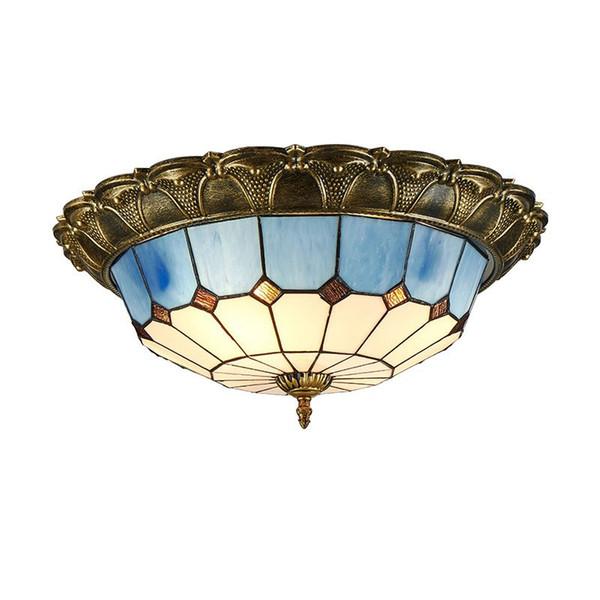 OOVOV Lámpara de techo de la habitación de estudio de luz de techo de vidrio azul mediterráneo Baño de cocina Tiffany Lámpara de techo