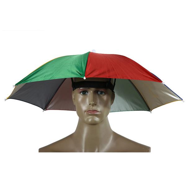 Tragbare Sonnenschutz Regenschirm Hut Kappe Falten Frauen Männer Regenschirm Outdoor Angeln Wandern Camping Sonnenschirm Faltbare Brolly Cap