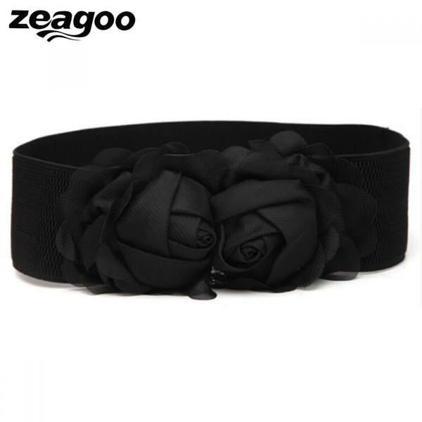 Zeagoo Stretch Elastic Flower Chiffon Double Rose Flower Belts For Women Girl Waistbands Fashion Cheap&High Quality Cummerbunds