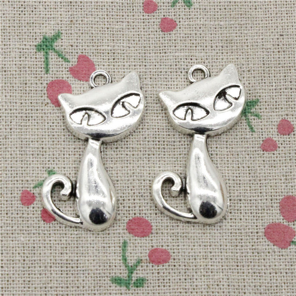 34pcs Charms cat fox 25*23mm Antique Silver Pendant Zinc Alloy Jewelry DIY Hand Made Bracelet Necklace Fitting