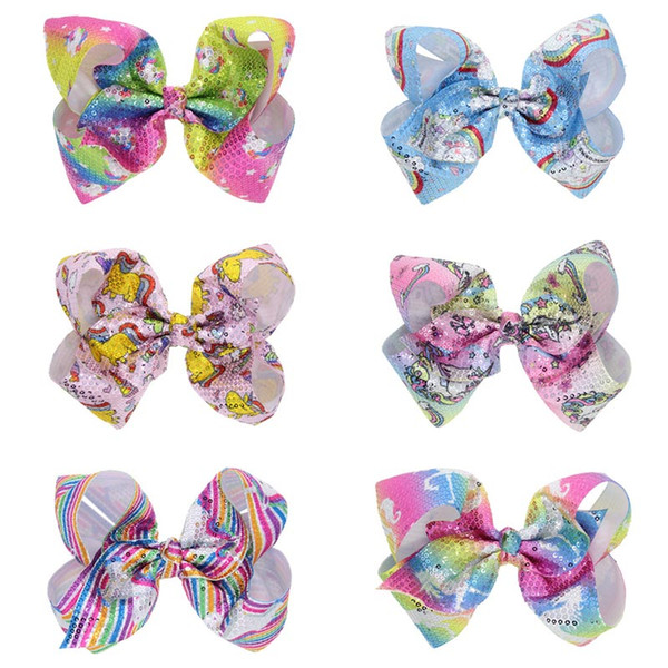 Colorful Sequin Unicorn Bowtie Hair Clip Barrette Bobby Pin Fashion Accessories for Kids Gift Drop Ship 120029