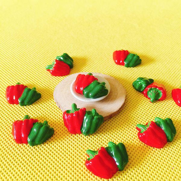 10 flat back green red peppers/vegetable/miniatures/cute/fairy garden gnome/moss terrarium decor/bonsai/figurine/doll house
