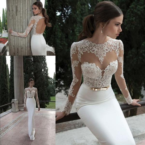 best selling 2020 Sheath Berta Wedding Dresses Illusion Long Sleeve Crew Neckline with Appliques Lace Backless Vestidos de Noiva Beach Bridal Gowns