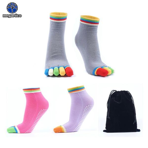 women yoga socks non slip Grips Anti Skid socks grey pilates yoga Full Toe Ballet sock pink sport gym Barre sock