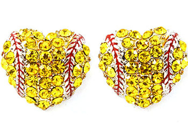 yellow Rhinestone round yellow softball stud earrings / gift for sports mom spots team gift for her softball mom fashion earring hook stud