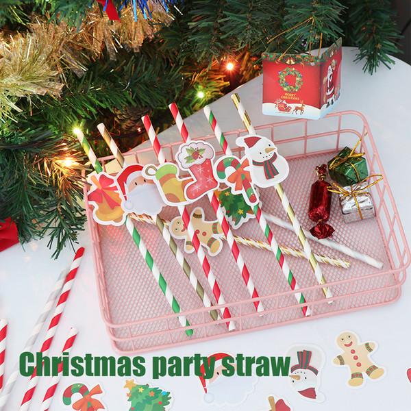 10 unids / set Papá Noel árbol de Navidad Navidad Papel Desechables Pajas de Beber Kids Party Supplies
