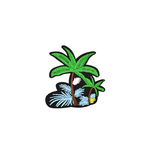 10 PCS Diy Flower Coconut Tree Embroidery Sewing on Patches Applique Stickers for Clothing Iron Thermo Patches for Garment Accessories Patch