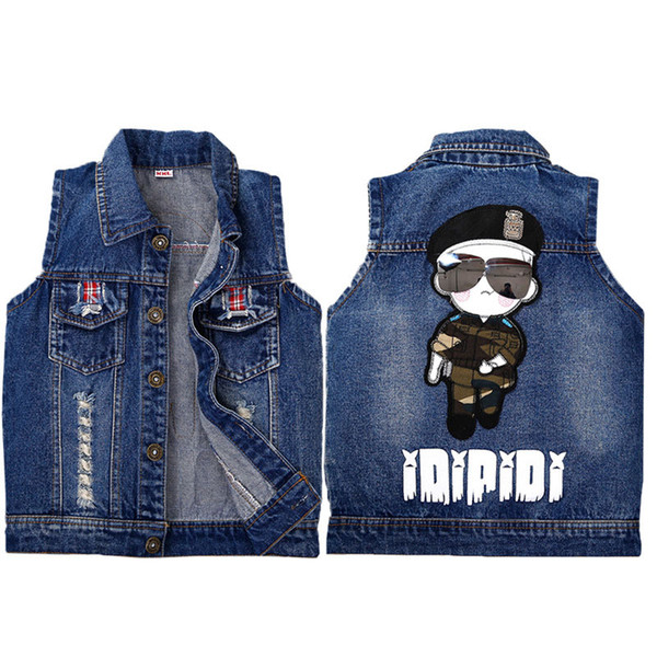 2-6T Baby Vests Boys Girls Jeans Printed Cartnoon Denim Waistcoats Outerwear Children Cartoon Spring Autumn Clothes Kids Vest Tops