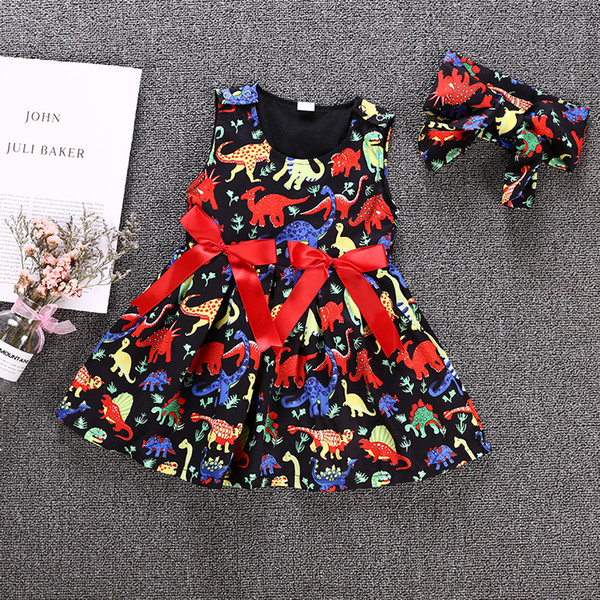 Baby Kids Girls Black Princess Tutu Dress Dinosaur Animal Vestidos Tulle Red Bowknot Ribbon Sleeveless Dresses Summer Sundress Boutique 1-6Y