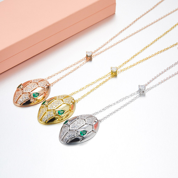 new luxury design fashion jewelry for women 18k rose gold plated 925 sterling silver paved cz stone green eyes snake pendant necklaces