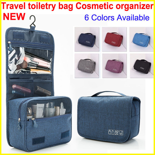 top popular 2018 Style Cosmetic Organizer bag with Hook Portable Travel bag Hanging Toiletry Bags Wash Waterproof Large Capacity Makeup Bags 6 Colors 2019
