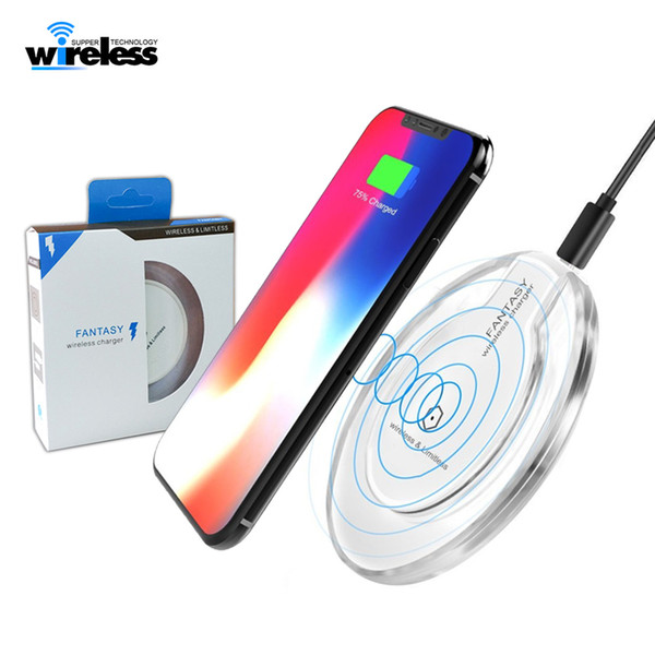 top popular Crystal Fantasy Qi Wireless Charger For samsung Charging Pad Mini for Samsung S6 S7 Edge Plus S10 S8 2020