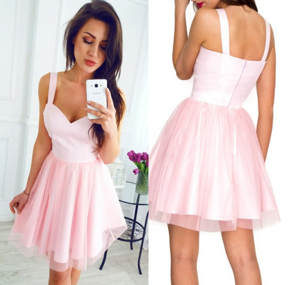 Latest Simple Pink Short Cocktail Homecoming Dresses Spaghetti Strap Tulle Mini Sweet 16 Graduation Party Dress Custom Made Evening Gowns