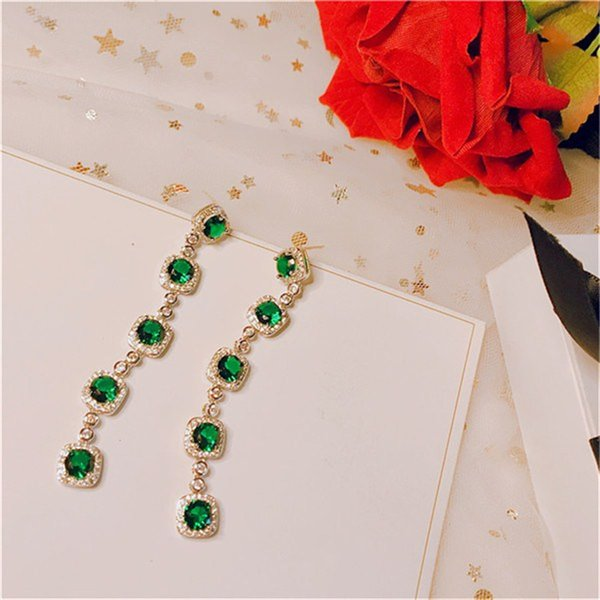 Long Emerald Drop Earrings For Women S925 Sterling Silver Needles Green Natural Gemstone Luxury Banquet Brincos Fine Jewelry