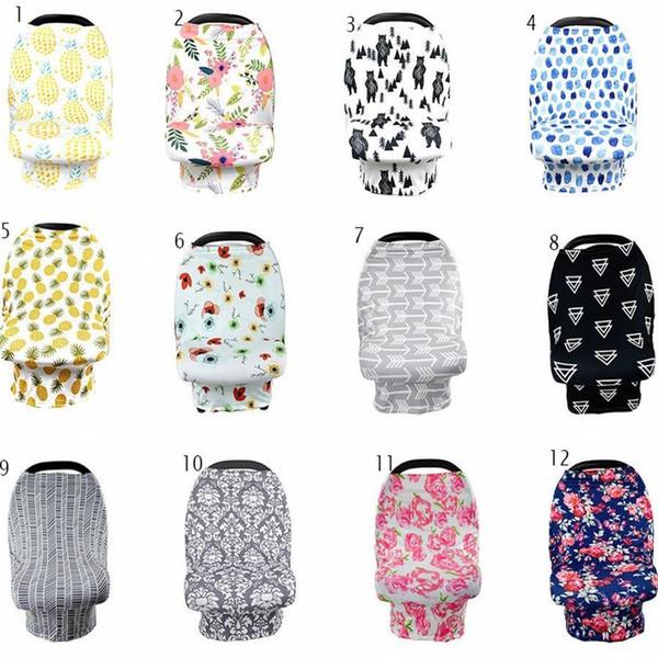 Couverture d'allaitement Protection de la vie privée écharpe bébé tissu d'allaitement Flower Print couverture d'allaitement respirant coton tissu en tissu 12 styles