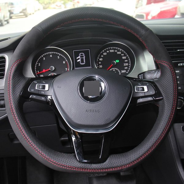 Hand-stitched Black Leather Black Suede Car Steering Wheel Cover for Volkswagen VW Golf 7 Mk7 New Polo Jetta Passat B8