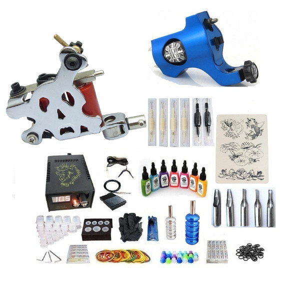 Professional Tattoo Kit 2 Gun (Handmade & Rotary) Machine With High Quality Power Supply 2 Grips Back Stem Tube 7 Ink 50 Needles G2A7R1