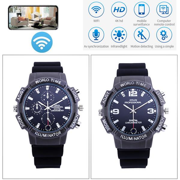 8GB memory WiFi Video Watch Camera, 4K 4096*2160P WiFi IP P2P Smart Watch Camera with Night Vision LED Light Wireless Cam PQ522