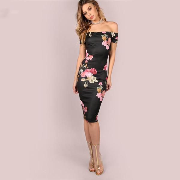 fe3402d32eae Sexy Party Dresses Bodycon Off Shoulder Dress Black Bardot Neckline Floral  Bodycon Knee Length Elegant Dress