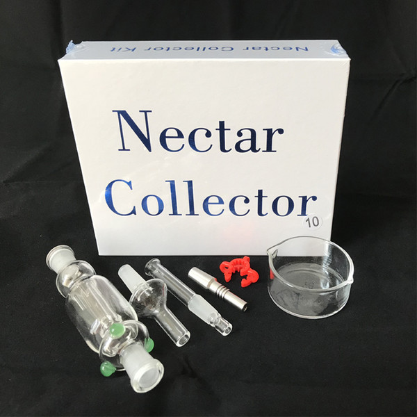 10mm Nectar Collector Kit Pyrex Glass pipe 10mm Titanium Ecigs Hookah Sets With Gift Box in hot selling DHL free