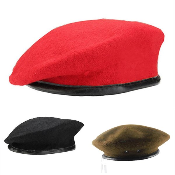 cbf618c8d05 Fashion Berets Unisex Military Army Soldier Hat Men Women Wool Beret  Uniform Cap Classic Artist Winter