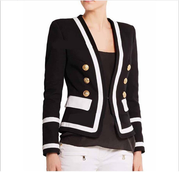 New With Label Brand B Top Quality Original Design Women's Double-Breasted Slim Jacket Metal Buckles Blazer Contrast Color Outwear jacket