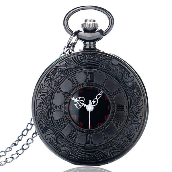 Retro Roman Number Quartz Steampunk Pocket Watch Fashion Necklace Carving Engraved Fob Clock Man Women Pendant Souvenir Top Gift