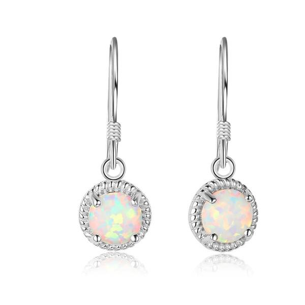 EA102016 Top-Qualität Beliebte Mode 925 Sterling Silber Ohrringe Fisch Ohr Haken mit Simluated weißen Opal 6 * 6mm für Mädchen