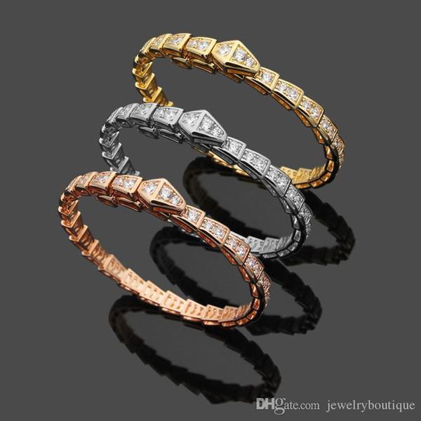 Bracelet de femmes de luxe avec diamant carré en or et argent et cadeau de mariage de style serpent plaqué or rose et amour punk bracelet jonc PS
