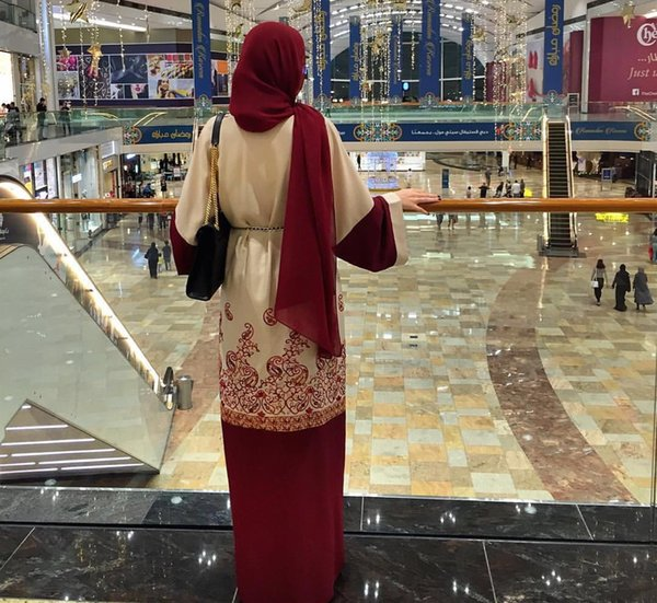 top popular 2019 Shanel New stylish Women Muslim Abaya Printing Floral Coat Cardigan Leisure Long Dress Red Color 2019