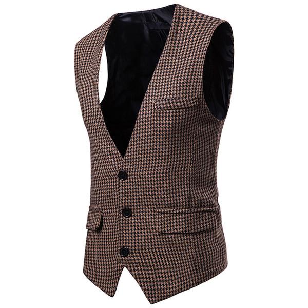 xadrez single-breasted colete 2018 outono e inverno nova moda jovem tendência selvagem colete colete jaqueta masculina dos homens