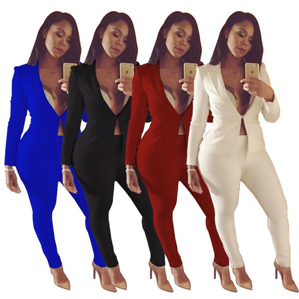 Hot Sale Elegant Women Pants Suits 2018 Spring Autumn Long Sleeve Lapel Neck Jacket and Pants Sets OL Women Coat Blazers Suits 4 Colors