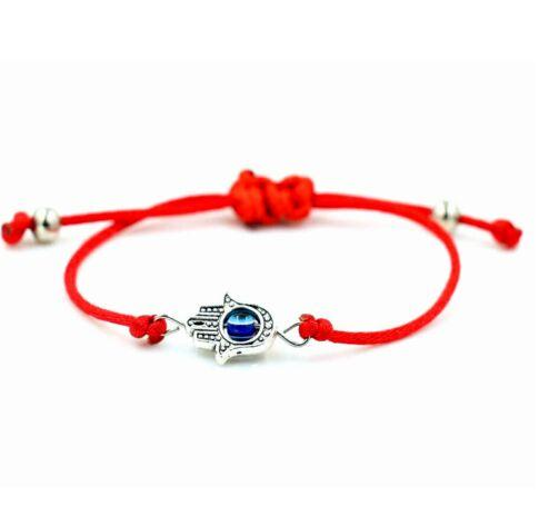 20pcs/lot Lucky String Hamsa Hand Evil Eye Lucky Red Cord Adjustable Bracelet DIY Jewelry NEW