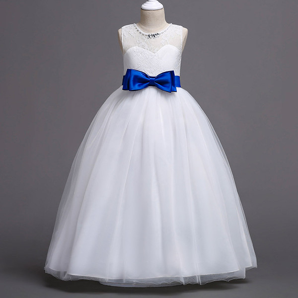 2018 Ball Gown Flower Girls Dresses Blush Lace Sleeveless Full Butterfly Kids Pageant Gowns Little Girl Birthday Christmas Party Dresses