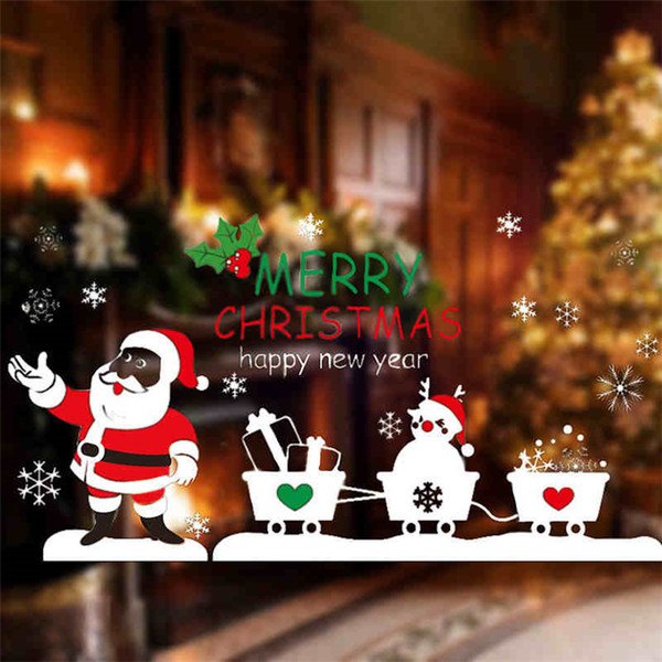 Spot Christmas decorations old man pulling glass stickers large window