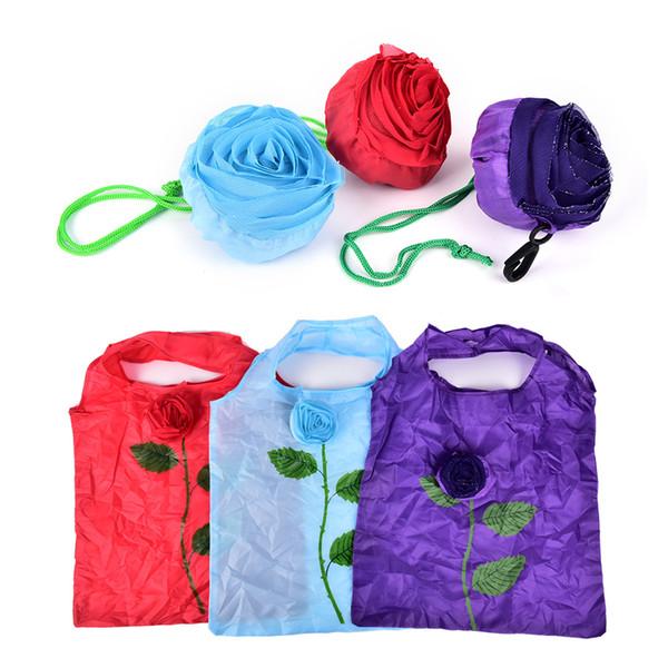 1PCS Reusable Fashion Rose Flowers Folding Shopping Bag Tote Eco Storage Bags Random Color