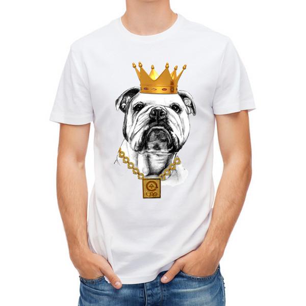 Hot Sale Bulldog Own Style Design Men T Shirt French Bulldog T-shirt Novelty Short Sleeve Tee Pug Printed The King Dog Shirts