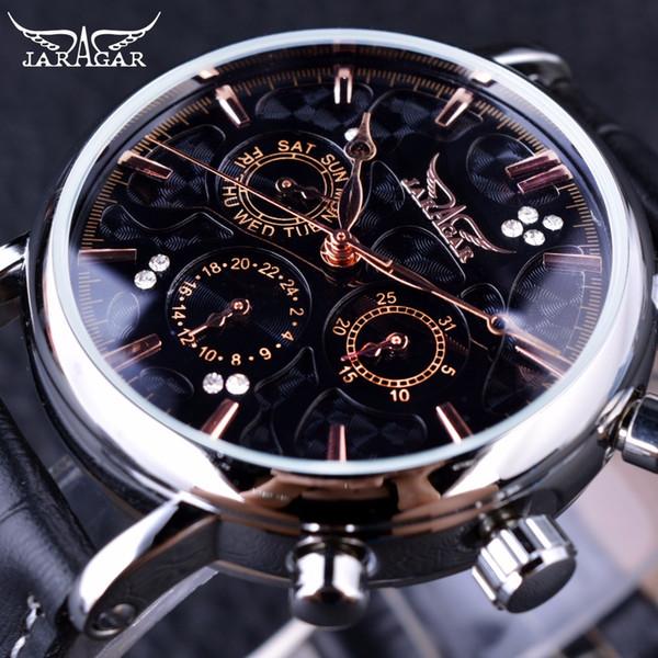 Jaragar Obscure Swirl Fashion 3 Dial Design Diamond Black Golden Dial Genuine Leather Men Watch Top Brand Luxury Automatic Watch S917