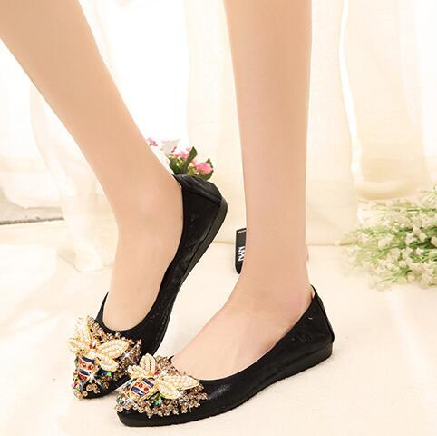 Size Designer Crystal Woman Flat Shoes Elegant Comfortable Lady Fashion Rhinestone Women Soft Bees Shoes thin shoes