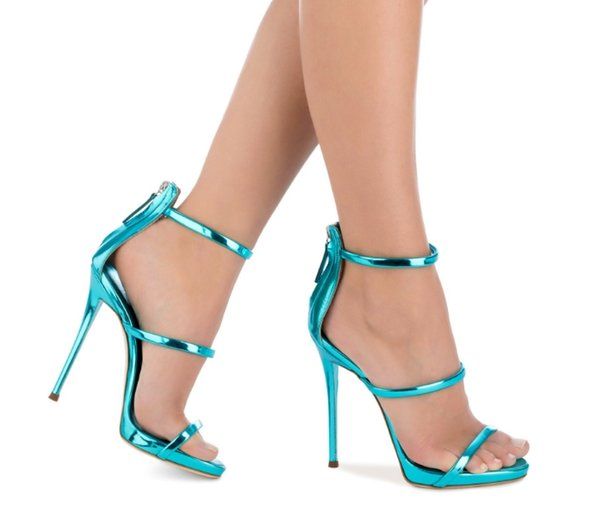 2018 new style high-heeled patent leather high-heeled shoes Super-heeled cylinder with sexy nightclub sandals free shipping