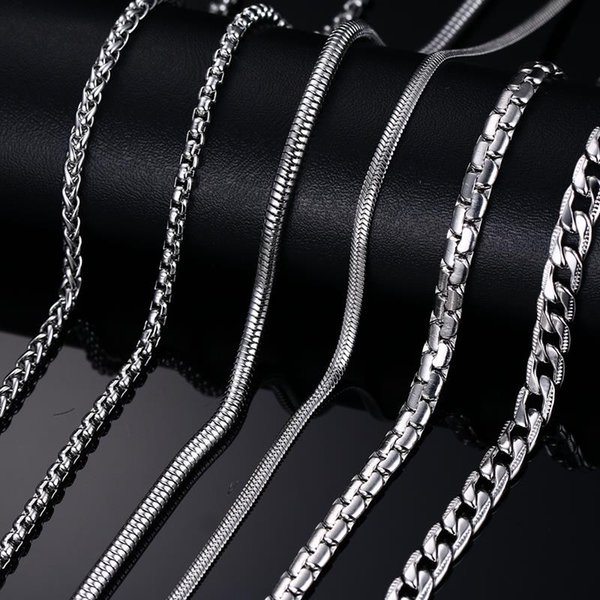 Meaeguet Fashion Stainless Steel Snake Chain 20/24inch Wholesale Chain Customized Jewelry Silver Color Chains Necklace