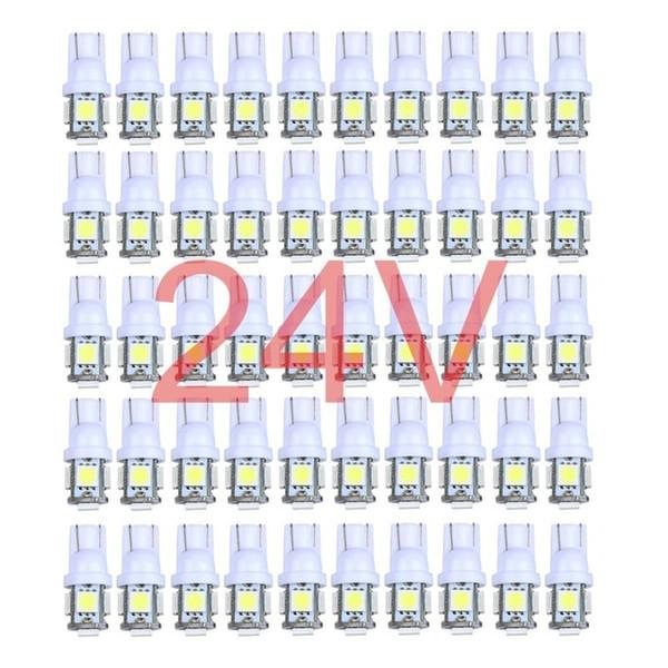 50x Bunte LKW 12V 24V LED T10 5LED 194 168 W5W 5 SMD 5050 5SMD LED Keil Glühlampe Lampe Weiß Grün Blau Rot Gelb 24V