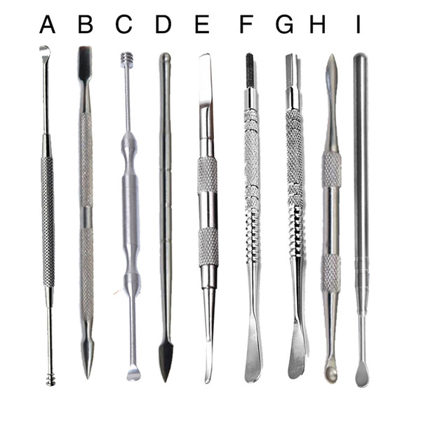 top popular 100% Stainless Steel Wax Cleaner Tools Hook Earpick Dabber Tool Cleaning 10 Stylers For Paste Grease Dry Herb Glass Smoking Pipes 2021