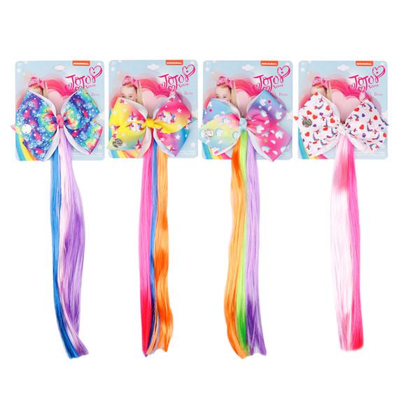 4.5'' Lovely Unicorn Hair Clips Cartoon Printed Hair Bows With Rainbow Fake Ponytail For Girls DIY Fashion Hair Accessories